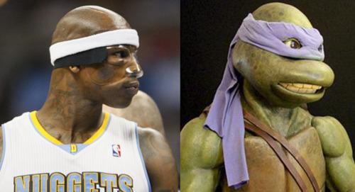 Al Harrington meets his twin, Donatello